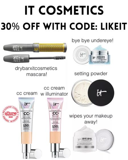 30% off It Cosmetics!! I am obsessed with their products, especially the CC Cream! Use Code: LIKEIT http://liketk.it/3hlCK #liketkit @liketoknow.it #LTKDay #LTKsalealert #LTKunder50
