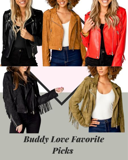 Fall jackets are the best! You can't go wrong with a cool leather jacket to a suede jacket! The perfect piece for fall season! #redleatherjacket #suedejacket #blackjacket #falljacket #buddylove  #LTKSale #LTKsalealert #LTKstyletip