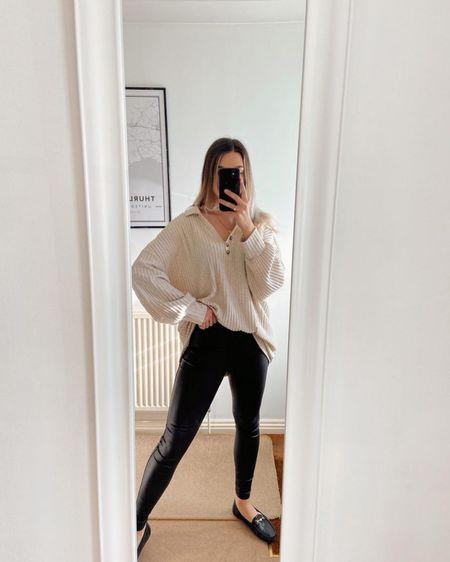 Asos haul, long sleeve shirt dress, loungewear, missguided, leather leggings, neutral outfit http://liketk.it/3hOtV #liketkit @liketoknow.it