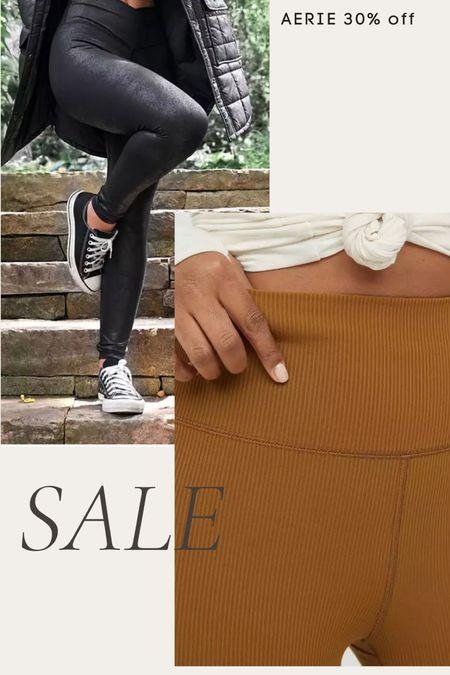 Aerie 30% sale on leggings- crackle leggings, ribbed leggings, faux leather leggings, high waisted leggings   #LTKsalealert #LTKunder50 #LTKunder100