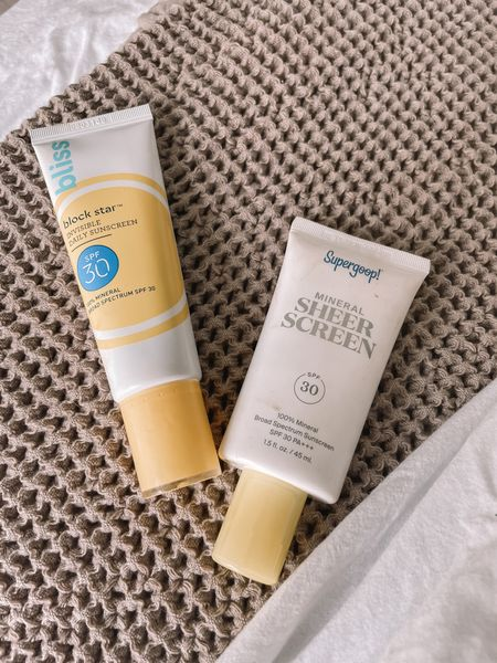 Love these two mineral sunscreens that are actually sheer!! The supergoop mineral sheer sunscreen is a brand I always go to! The bliss sunscreen is only $19 and it really gives a dewy feel! http://liketk.it/3eGv2 #liketkit @liketoknow.it #LTKunder50 #LTKbeauty