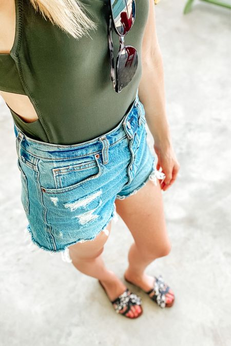 I shopped for denim shorts for months before I finally (FINALLY!) landed on these perfect high-waisted cut off shorts. 😍 I wore them not stop on our little family trip, with swimsuits, tanks, and nicer tops. So easy to dress up or throw on over a one piece or bikini. Also paired perfectly with my new favorite Sam Edelman slides and $13 Amazon sunnies. http://liketk.it/2QxLm #liketkit @liketoknow.it #LTKtravel #LTKsalealert #LTKswim