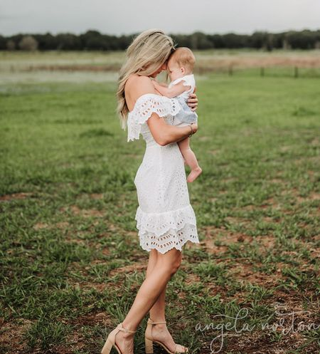 Family pictures outfits. Size down in my dress!!         White eyelet  White dress Family pictures  Beach vacation  Beach outfit  Eyelet dress Baby outfit Baby dress Baby eyelet Janie and Jack   #LTKstyletip #LTKfamily #LTKbaby
