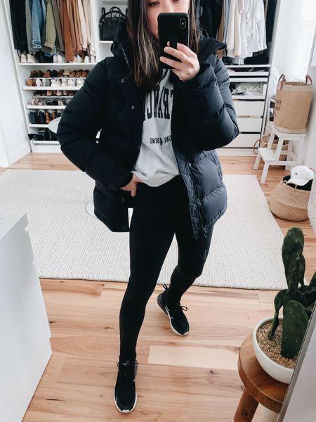 Aritzia super puff. Black puffer coat. Athleisure wear. Petite black leggings.   Coat - Aritzia Super Puff (can't link) xxs Sweatshirt - Anine Bing university sweatshirt xs  Leggings - Zella xs Sneakers - Nike 6  http://liketk.it/35flu #liketkit @liketoknow.it #LTKshoecrush