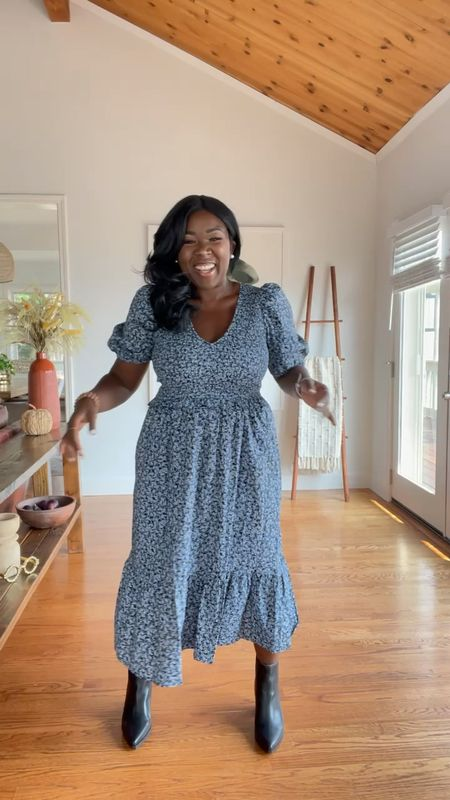 MIDI dress from target comes in three different prints. Wearing a size medium.
