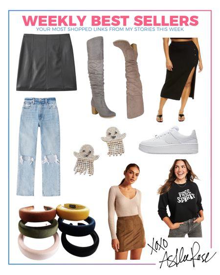 Weekly best sellers, curvy jeans, ghost earrings, ghost sweatshirt, Halloween outfit, fall style, wide calf boots, leather skirt  #LTKSeasonal #LTKcurves #LTKshoecrush
