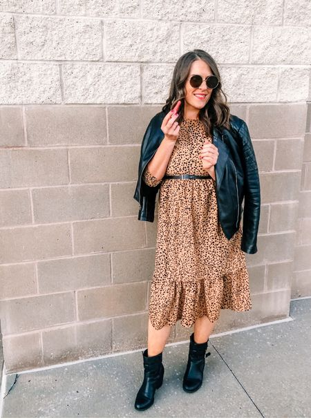 A black leather jacket and black booties or heels goes great with any dress for a day/night out! #fashion #leatherjacket #booties #shoecrush #ootd #styletips #outfitinspo  #LTKshoecrush #LTKbeauty #LTKfit