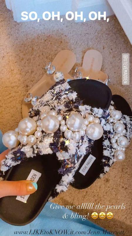 Sooooooo obsessed! #pearls #embellishments #rhinestones #summershoes #sandals #springshoes   #LTKshoecrush