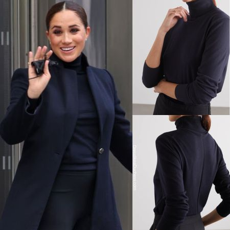 Meghan's turtleneck believed to be the Row chanic #sweater #fall #navy
