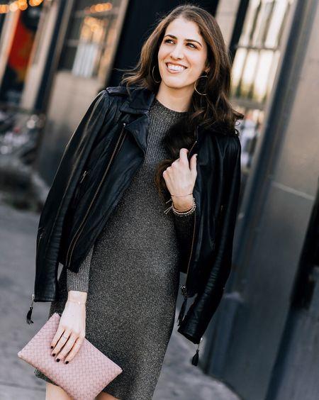 """Winter"" in LA calls for a moto jacket, a sparkly sweater dress and bare legs 🌴☀️🤷🏼♀️ http://liketk.it/2ufZa #liketkit @liketoknow.it 📷: @feylasala"
