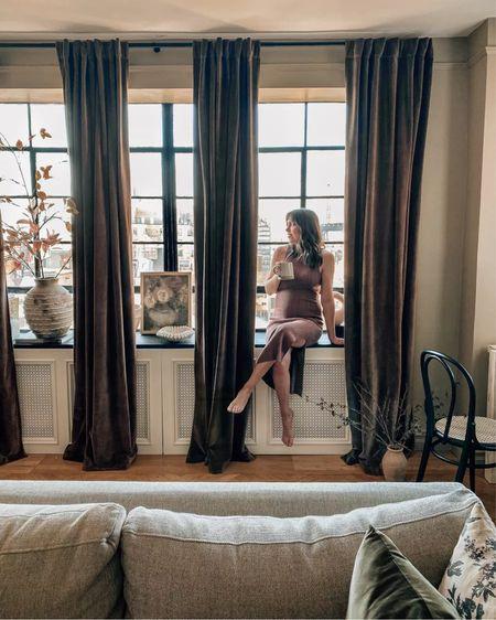 Curtains, living room decor and bump friendly dress    #LTKhome #LTKbump #LTKSeasonal