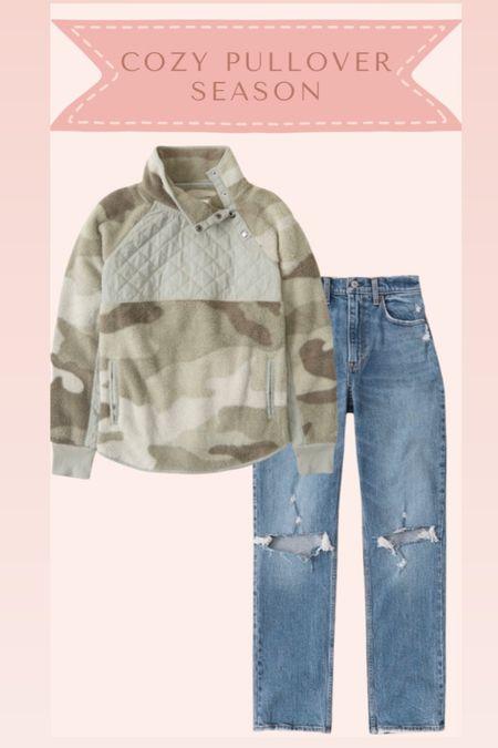 Sherpa pullover and jeans from Abercrombie on sale   #LTKstyletip #LTKSale #LTKsalealert