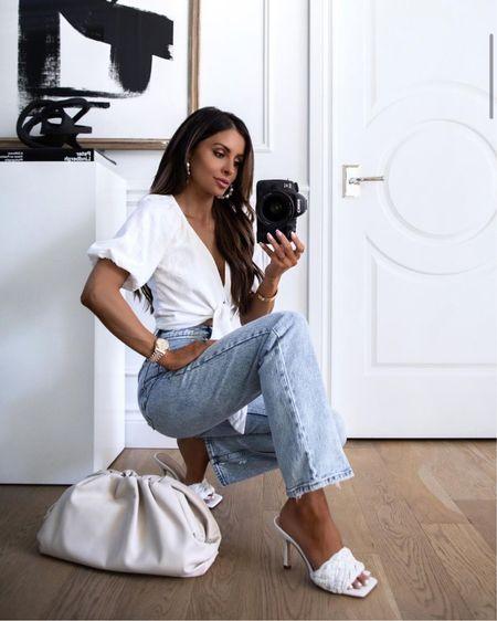 Abercrombie summer outfit Abercrombie white linen top Abercrombie high waisted jeans Marc Fisher slides  http://liketk.it/3ijyz #liketkit @liketoknow.it   #LTKshoecrush #LTKstyletip #LTKunder100