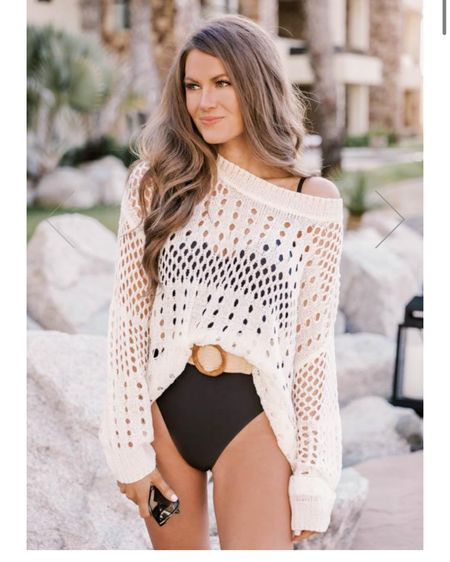Cream open knit sweater, vacation outfits, beach outfits, beach sweaters, Caitlin Covington X Pink Lily collab http://liketk.it/39Mz2 #liketkit @liketoknow.it #LTKtravel