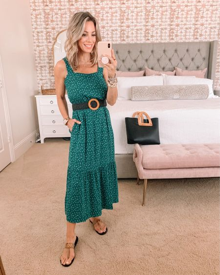 Green Floral Maxi Dress with belt and tote   Dress Fit: I'm wearing an XS  http://liketk.it/3hCAB @liketoknow.it #liketkit #LTKstyletip #LTKshoecrush #LTKunder50