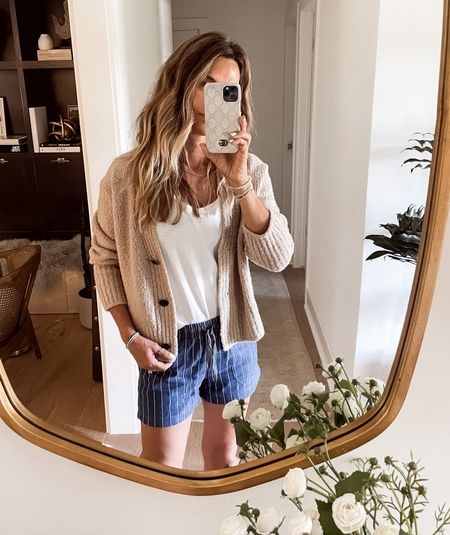 Easy pinstripe shorts $40 less 30% with code shopsale  Lulu lemon top in shorter length. NSale sweater   #LTKstyletip #LTKsalealert #LTKunder50