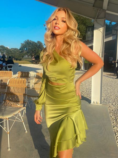 Green is so in 🤍   #weddingoutfit #weddingguest #green #silkdress #cutoutdress #oneshoulderdress #mididress   #LTKwedding #LTKSale #LTKunder50