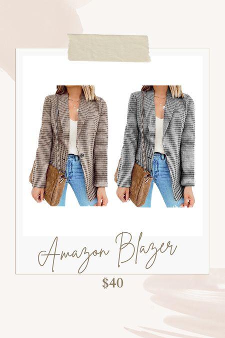 Plaid blazer, Amazon find, fall jacket, fall blazer  #LTKunder50 #LTKSeasonal #LTKstyletip