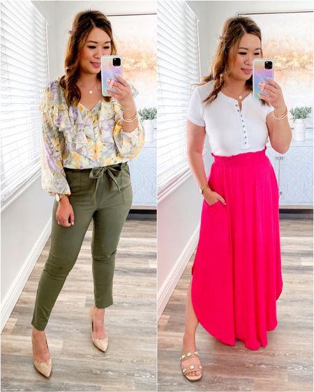 Floral Top: Small Olive Work Pants: Medium White Bodysuit: Medium Skirt: Medium  http://liketk.it/3hqPj #liketkit @liketoknow.it