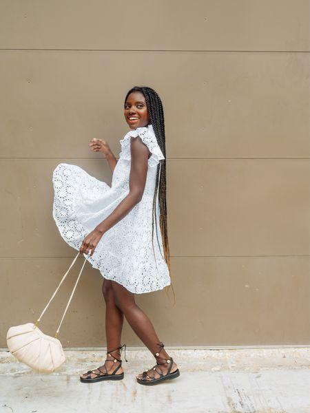 Fourth of July, Summer boating outfit. White eyelet dress with flutter sleeves.   #LTKtravel #LTKwedding #LTKstyletip