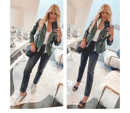 Loving this olive green faux leather blazer! It looks fabulous with both heels and sneakers! How would you wear it? It runs tts, I'm wearing a size 0.   Follow my shop @soheatherblog on the @shop.LTK app to shop this post and get my exclusive app-only content!  #liketkit #LTKstyletip #LTKshoecrush #LTKSeasonal @shop.ltk http://liketk.it/3p8KB