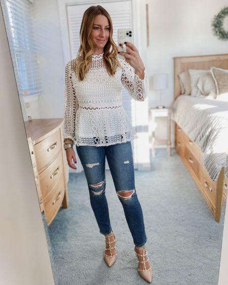 White lace shirt, ripped jeans, nude heels  http://liketk.it/31wMN #liketkit @liketoknow.it #LTKunder50 #LTKshoecrush