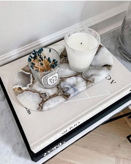 Love this bamboo scented nest candle & my new agate stone tray. Paired both on our entryway table alongside some of my favorite coffee table books! #homedecor #livingroom #fashionjackson #liketkit  #LTKunder50 #LTKunder100 #LTKhome