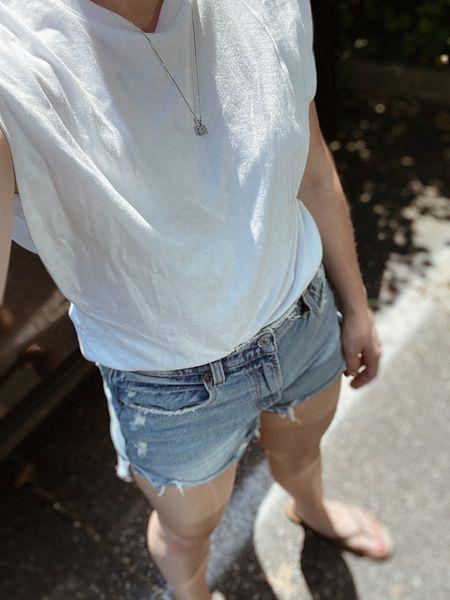 Basic summer/ vacation wardrobe - white tee and denim shorts   #competition #denimshorts #abercrombie #whitetee  #LTKstyletip #LTKSeasonal #LTKunder50