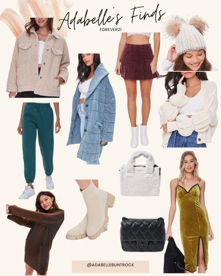 Forever21 beanie dupe Chanel Sherpa bag sweater dress velvet dress jacket sweatpants skirt   #LTKunder50 #LTKSeasonal #LTKunder100
