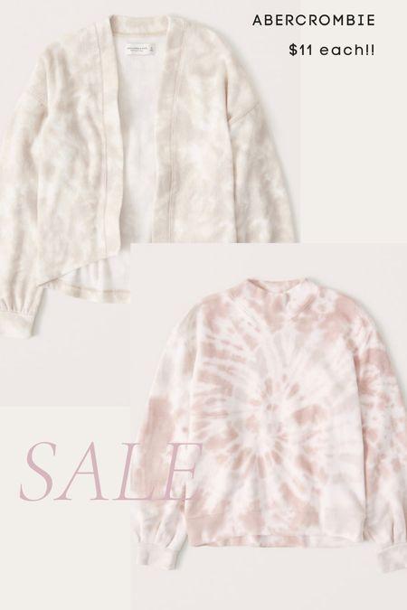 Abercrombie clearance $11 each- cozy cardigan, tie dye pullover, fall, mock neck sweatshirt   #LTKunder50 #LTKsalealert #LTKunder100