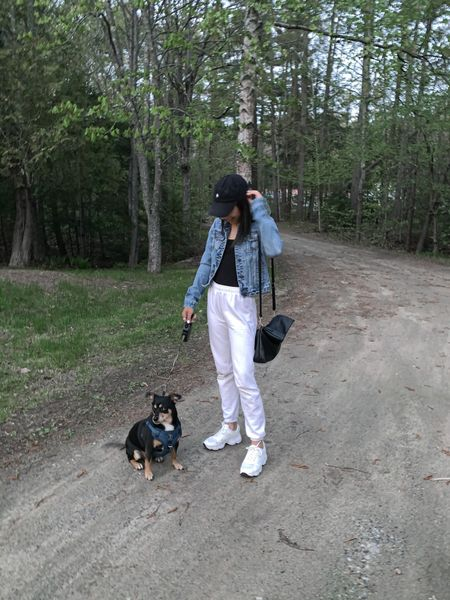 White joggers @boohoo Denim jacket size xs @abercrombie White chunky sneakers size 7 @boohoo Black bodysuit Casual outfit, travel look, lounge, outfit inspo, dog harness, pet finds. #liketkit @shop.ltk   #LTKunder100 #LTKstyletip