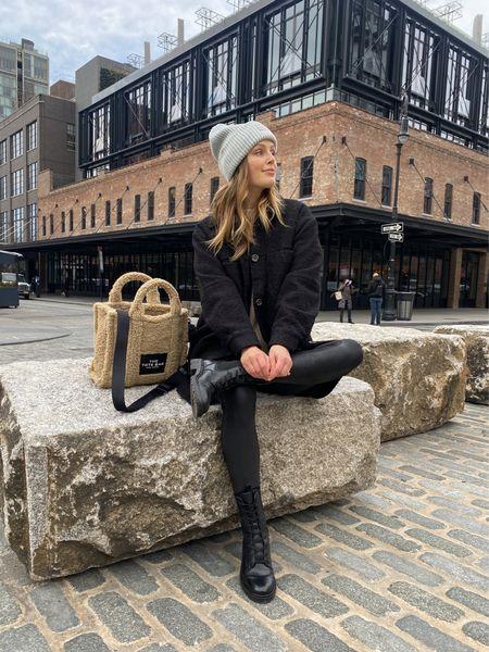 Sam Edelman combat boots - tts  Spanx faux leather leggings - size up   #LTKshoecrush #LTKunder100 #LTKsalealert