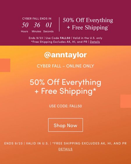 September 22, 2019 - Get 50% off plus free shipping at Ann Taylor! Use code FALL50. Sale ends 9/24 at 3AM ET.   Update 9/23: You can combine the code FALL50 + ATWELCOME1 for 50% off plus 30% off! The combined discounts are 65% off of the original retail price! Special thanks to @ibehnke for sharing this stacking deal!   🛍 Shop my sales picks @liketoknow.it http://liketk.it/2F8Ng #liketkit #LTKworkwear #LTKunder50 #LTKunder100 #LTKsalealert #thisisann