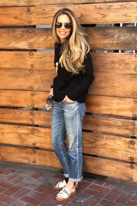 Amazon fashion, black hoodie, sandals, travel outfit, jeans, Chloe   #LTKshoecrush #LTKstyletip #LTKunder50
