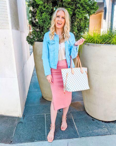 Dressy casual summer look. Satin lace Cami, denim jacket, pink fitted midi skirt, white checkered tote, beige stud sandals, square toe. http://liketk.it/3icTs @liketoknow.it #liketkit #LTKstyletip #LTKunder50 #LTKunder100 #LTKitbag #LTKshoecrush