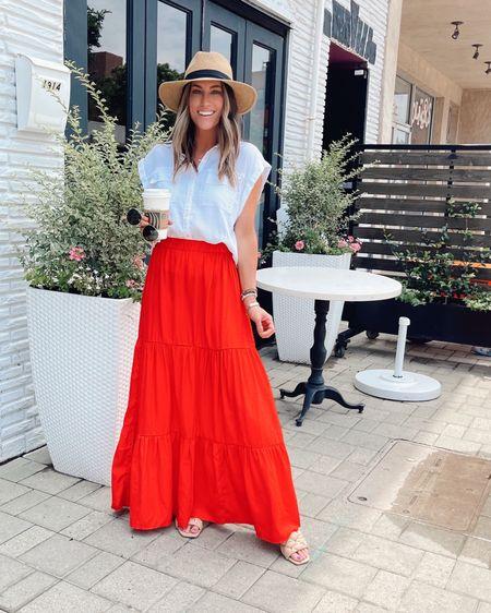 Maxi skirt. Vacation outift. July 4th.  Date night Beach    http://liketk.it/3hir2 @liketoknow.it #liketkit #LTKtravel #LTKstyletip #LTKunder50