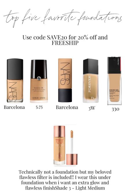20% off my favorite foundations with SAVE20