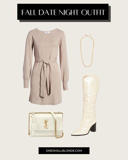 Sweater dress and western boots for fall date night ✨🤍🍂 dress is just under $100!  #LTKstyletip #LTKunder100 #LTKshoecrush