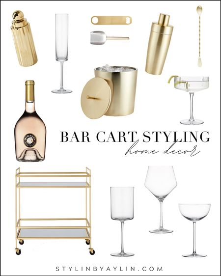 Bar cart styling, bar cart decor, simple home decorC neutral home decor, happy hour, StylinByAylinHome   #LTKunder100 #LTKhome #LTKstyletip
