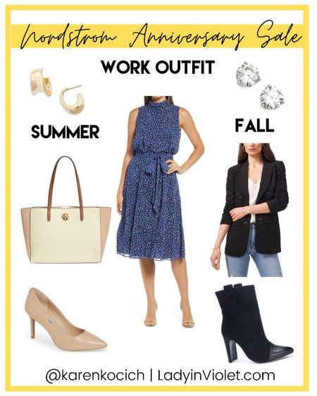 Nordstrom Anniversary sale / nsale workwear / work outfit / one dress styled for two seasons / blue dress / summer dresses / black blazer / dress booties / work tote bag / nude heels / stud earrings   #LTKsalealert #LTKunder100 #LTKworkwear