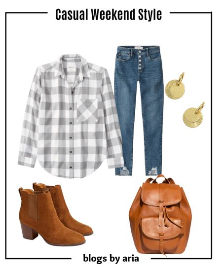 Casual weekend outfit ideas for fall with boyfriend plaid shirt and comfy stylish jeans Fall outfit aesthetic  Fall outfit ideas  Fall style   #LTKSale #LTKSeasonal #LTKstyletip