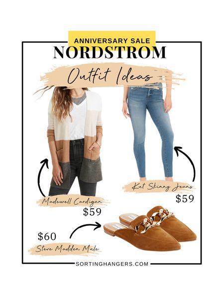 Nordstrom Anniversary Sale Outfit Ideas ✨  Madewell Cardigan | Kut from the Kloth Skinny Jeans | Steve Madden Cognac Suede Mules   #LTKsalealert #LTKstyletip #LTKshoecrush