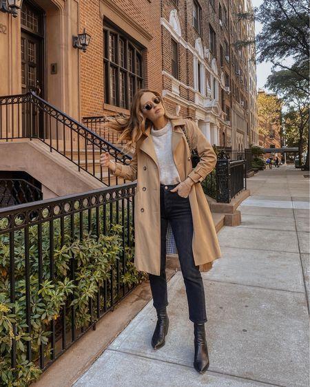 Fall trench coat outfit - Riley agolde jeans (tts)   #LTKSeasonal #LTKstyletip