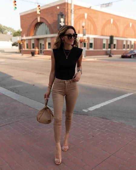 Favorite coated jeans in a tan color - fits tts/ Nsale find  Abercrombie bodysuit  Amazon handbag Express heeled sandals in warm nude Amazon sunnies under $20   #LTKstyletip #LTKunder100 #LTKshoecrush
