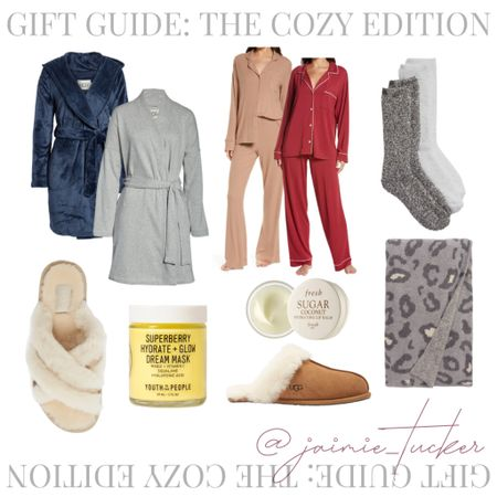 Holiday gift guide ideas for friends or family. | #holidaygiftguide #christmasgiftguide #homeslippers #uggslippers #throwblanket #womensrobe #womenspyjamas #womenspajamas #cozysocks #falloutfits #loungewear #JaimieTucker  #LTKGiftGuide #LTKhome #LTKHoliday
