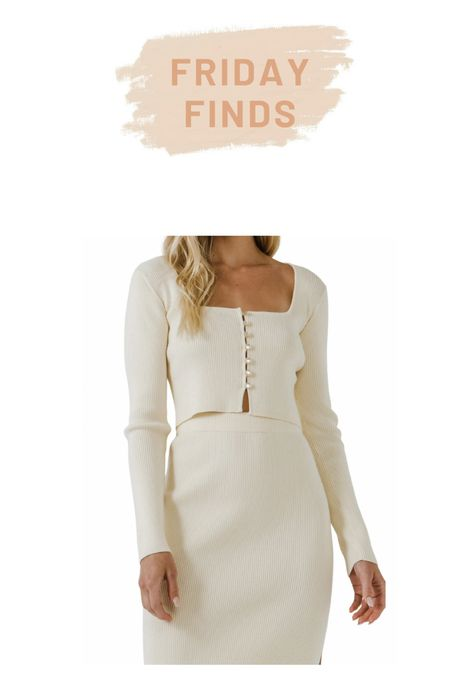 Endless rose pearl button crop sweater and matching skirt    #LTKcurves #LTKstyletip