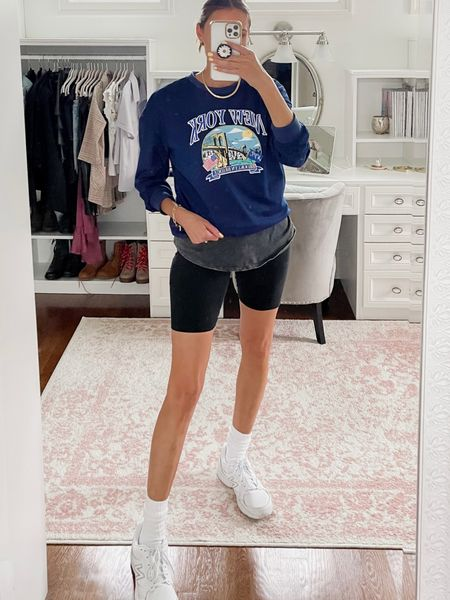 Fall outfit with biker shorts- graphic long sleeve tee from shein, white new balance sneakers   #LTKstyletip #LTKshoecrush #LTKunder100