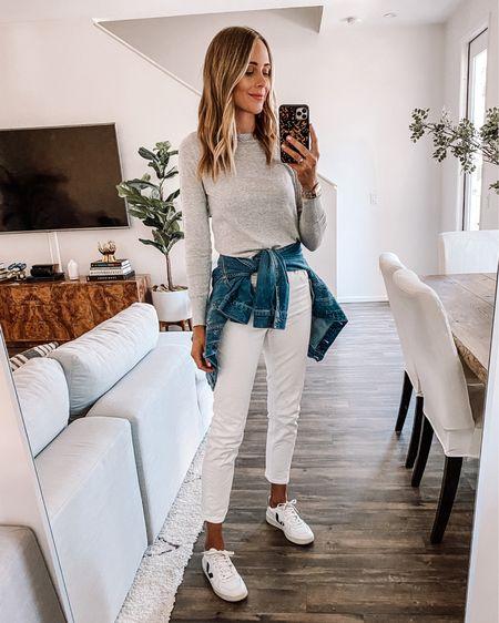 Effortless way to wear white after Labor Day. Lightweight grey sweater, denim jacket, and Veja sneakers   #LTKunder100 #LTKstyletip #LTKunder50